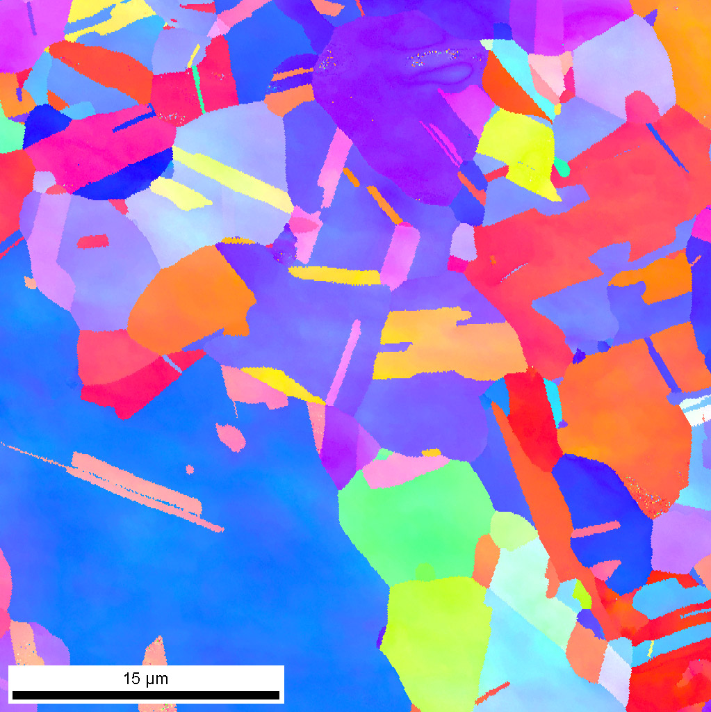 Orientation map measured by backscattered electron diffraction (EBSD) on annealed Cu sample