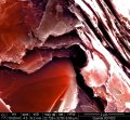 Fracture of pencil point, graphite platelets